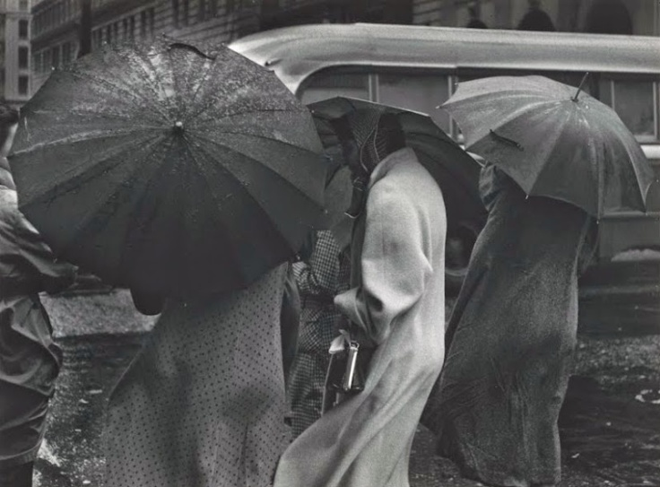 Figures in Rain, San Francisco, from Portfolio Two_ Twelve Photographs by Pirkle Jones - Google Cultural Institute